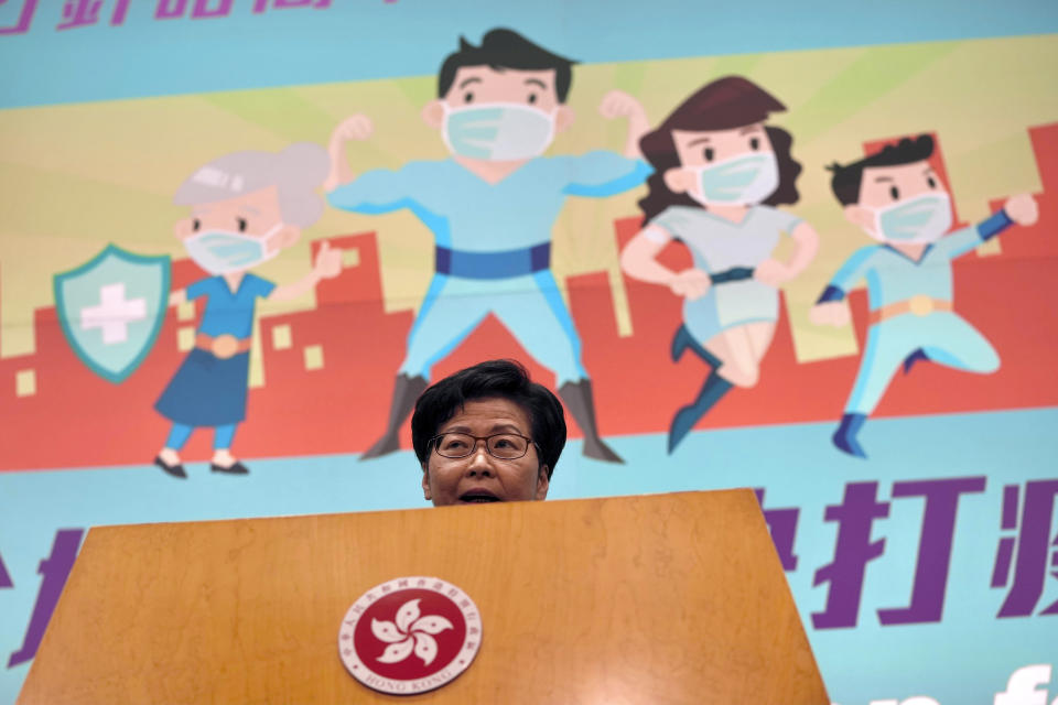 """Hong Kong Chief Executive Carrie Lam speaks during her weekly press conference in Hong Kong, Tuesday, June 22, 2021. Lam said that foreign governments are """"beautifying"""" acts that endanger national security in their criticisms of the police crackdown on pro-democracy newspaper Apple Daily, days after five were arrested and assets linked to the newspaper frozen. (AP Photo/Kin Cheung)"""