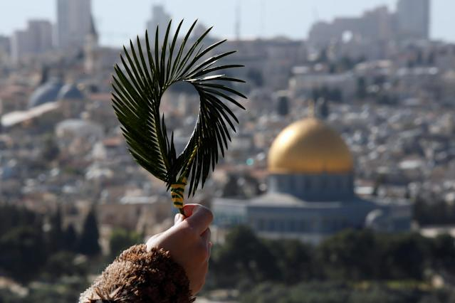 <p>A Catholic faithful holds palm fronds during a Palm Sunday procession on the Mount of Olives in Jerusalem, March 25, 2018. (Photo: Amir Cohen/Reuters) </p>