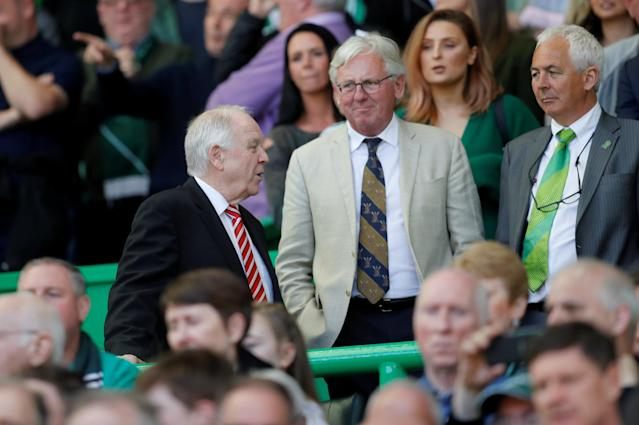 Soccer Football - Scottish Premiership - Celtic vs Aberdeen - Celtic Park, Glasgow, Britain - May 13, 2018 Former Scotland and Aberdeen manager Craig Brown (L) in the crowd REUTERS/Russell Cheyne