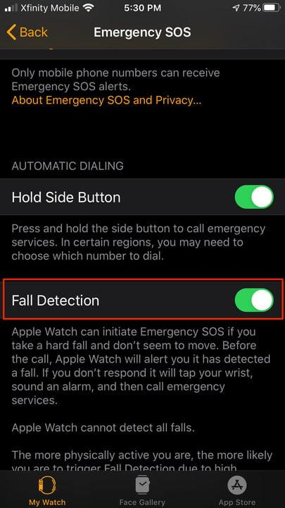 how to set up fall detection on apple watch falld3