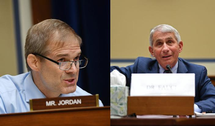 Rep. Jim Jordan and Dr. Anthony Fauci during a House subcommittee hearing on the coronavirus crisis on Friday.
