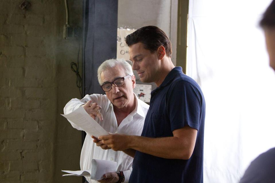 Martin Scorcese directing Leonardo DiCaprio on the set of 'The Wolf of Wall Street' (credit: Universal)