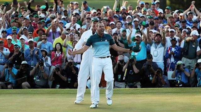 Sergio Garcia reacts after making his Masters-winning putt on the first playoff hole on Sunday at Augusta National.