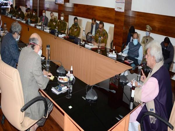 Jammu and Kashmir Lieutenant Governor Manoj Sinha holds review meeting on Tuesday. (Image courtesy: Twitter)