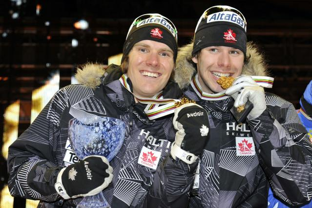 OSLO, NORWAY - MARCH 2: (FRANCE OUT) Alex Harvey of Canada, Devon Kershaw of Canada takes 1st place during the FIS Nordic World Ski Championships Cross-Country Men�s Team Sprint on March 2, 2011 in Oslo, Norway. (Photo by Philippe Montigny/Agence Zoom/Getty Images)