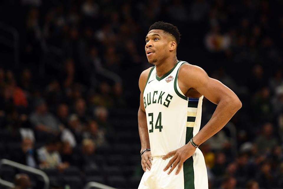 MILWAUKEE, WISCONSIN - OCTOBER 17:  Giannis Antetokounmpo #34 of the Milwaukee Bucks walks backcourt during a game against the Minnesota Timberwolves at Fiserv Forum on October 17, 2019 in Milwaukee, Wisconsin. NOTE TO USER: User expressly acknowledges and agrees that, by downloading and or using this photograph, User is consenting to the terms and conditions of the Getty Images License Agreement.  (Photo by Stacy Revere/Getty Images)