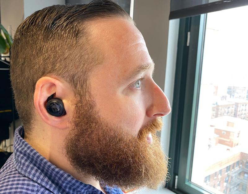 The Echo Buds come with attachable wing tips to help them stay securely in your ears. (Image: Ethan Wolff-Mann)