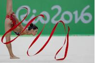 <p>Australian gymnast Danielle Prince showed off just how pretty the ribbons for rhythmic gymnastics can be. </p>