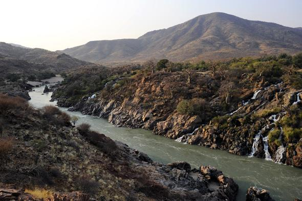 A general view taken on August 21, 2010 shows the Kunene river near the Epupa falls in northern Namibia at the border with Angola. In 2007,  Angola and Namibia pledged they would go ahead with a huge hydro power project on the Kunene river, which forms the common border between the two countries. AFP PHOTO / STEPHANE DE SAKUTIN (Photo credit should read STEPHANE DE SAKUTIN/AFP/Getty Images)