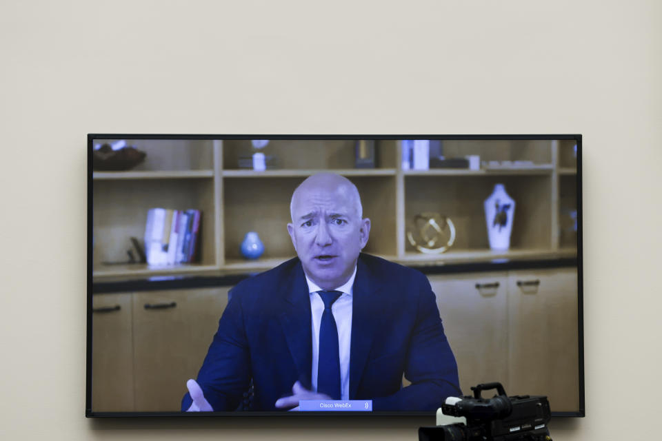 Amazon CEO Jeff Bezos speaks via video conference during a House Judiciary subcommittee hearing on antitrust on Capitol Hill on Wednesday, July 29, 2020, in Washington. (Graeme Jennings/Pool via AP)