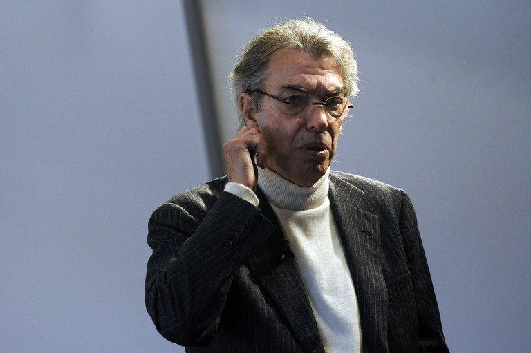 Massimo Moratti, Inter Milan president arrives at a press conference in Milan on December 29, 2010
