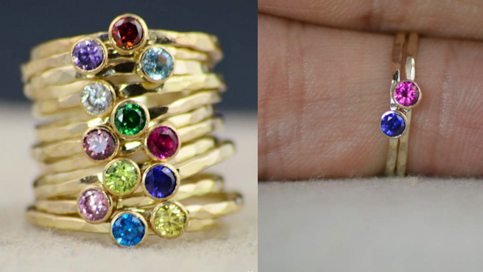 Best personalized gifts: AlariDesign Birthstone Stacking Ring