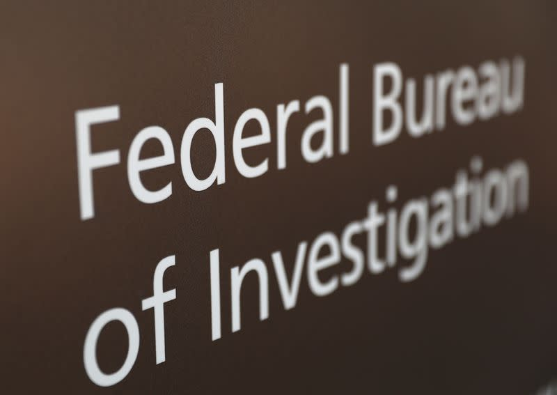 A sign of the FBI is seen outside of the J. Edgar Hoover FBI Building in Washington