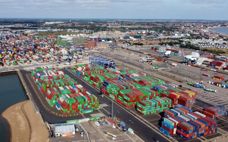 Shipping containers at the port of Felixstowe