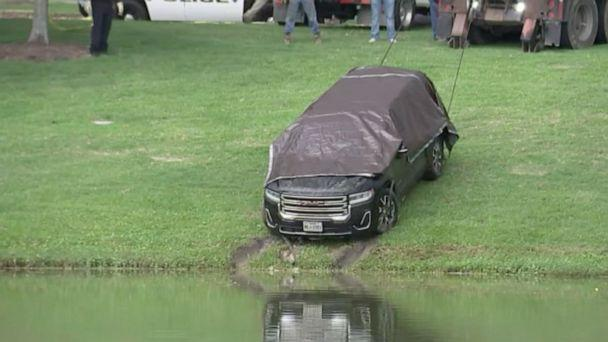 PHOTO: The SUV of Erica Hernandez, a missing mother of three, was found submerged with a body inside in Pearland, Texas, on Tuesday, May 11, 2021. The body inside has yet to be officially identified. (KTRK)