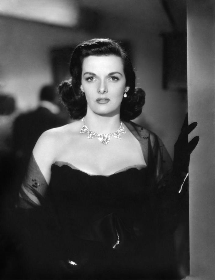 """<p>Central to the plot of the film, Jane Russell sports an opulent diamond necklace in <em>The Las Vegas Story</em>. The bauble was <a href=""""https://www.thecrimson.com/article/1952/3/6/the-las-vegas-story-phoward-hughes/"""" rel=""""nofollow noopener"""" target=""""_blank"""" data-ylk=""""slk:loaned by Cartier to RKO"""" class=""""link rapid-noclick-resp"""">loaned by Cartier to RKO</a> for the film, and cost around $150,000 in 1952. </p>"""