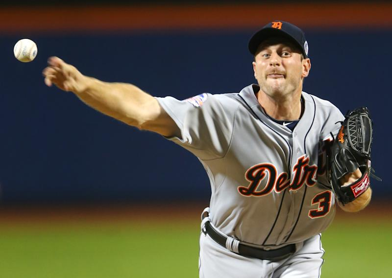 American League's Max Scherzer, of the Detroit Tigers, pitches during the first inning of the MLB All-Star baseball game, on Tuesday, July 16, 2013, in New York. (AP Photo/Elsa, Pool)