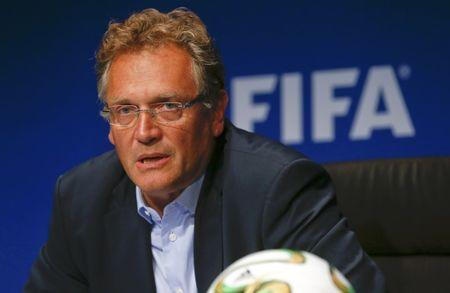 FILE PHOTO: FIFA secretary general Jerome Valcke addressing a news conference after a meeting of the FIFA executive committee in Zurich September 26, 2014. Reuters/Arnd Wiegmann/Files Picture Supplied by Action Images