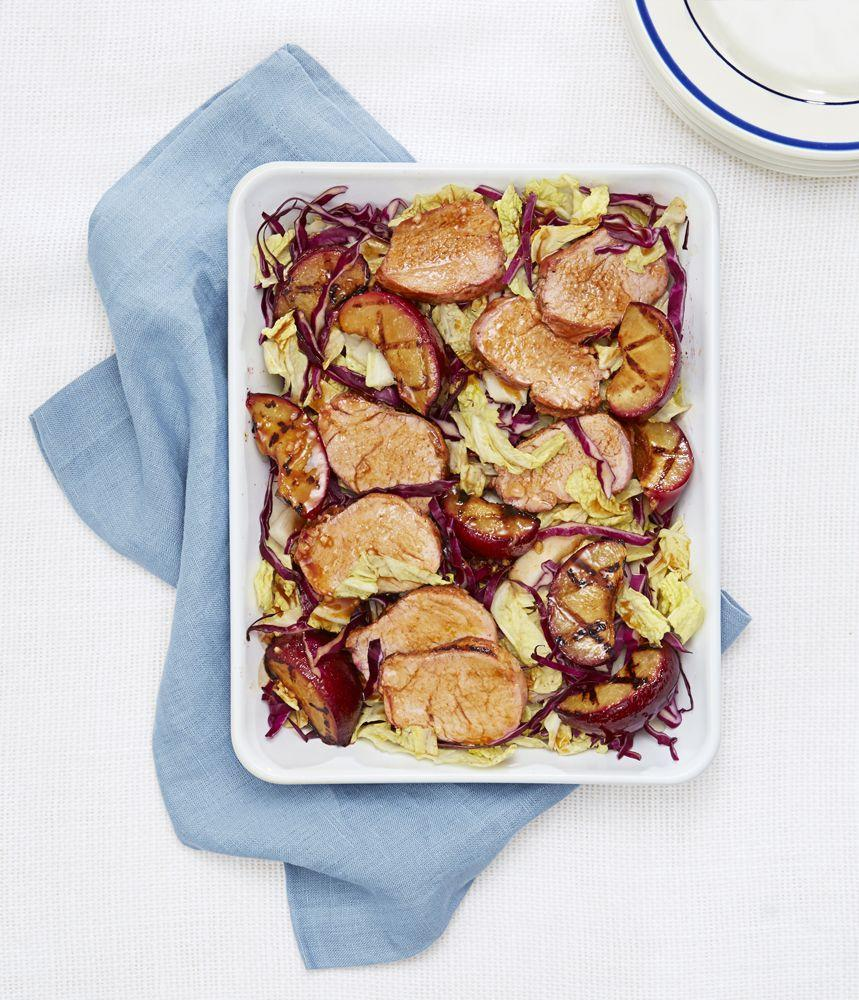 "<p>A serving of this savory salad clocks in at just 265 calories. Go ahead and pour yourself a guilt-free glass of wine.</p><p><a href=""https://www.goodhousekeeping.com/food-recipes/a33579/grilled-plum-and-pork-salad-recipe/"" rel=""nofollow noopener"" target=""_blank"" data-ylk=""slk:Get the recipe for Grilled Plum and Pork Salad »"" class=""link rapid-noclick-resp""><em>Get the recipe for Grilled Plum and Pork Salad »</em></a></p>"