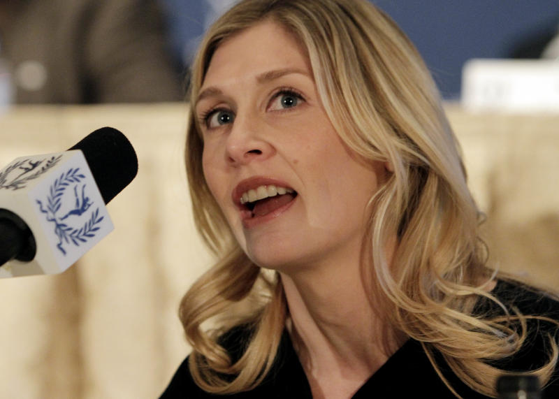 Marie Tillman, widow of former Arizona State University football player Pat Tillman, addresses a news conference for the 2010 National Football Foundation and College Hall of Fame Awards, in New York, Tuesday, Dec. 7, 2010. Her husband is a member of the 2010 College Football Hall of Fame class. (AP Photo/Richard Drew)