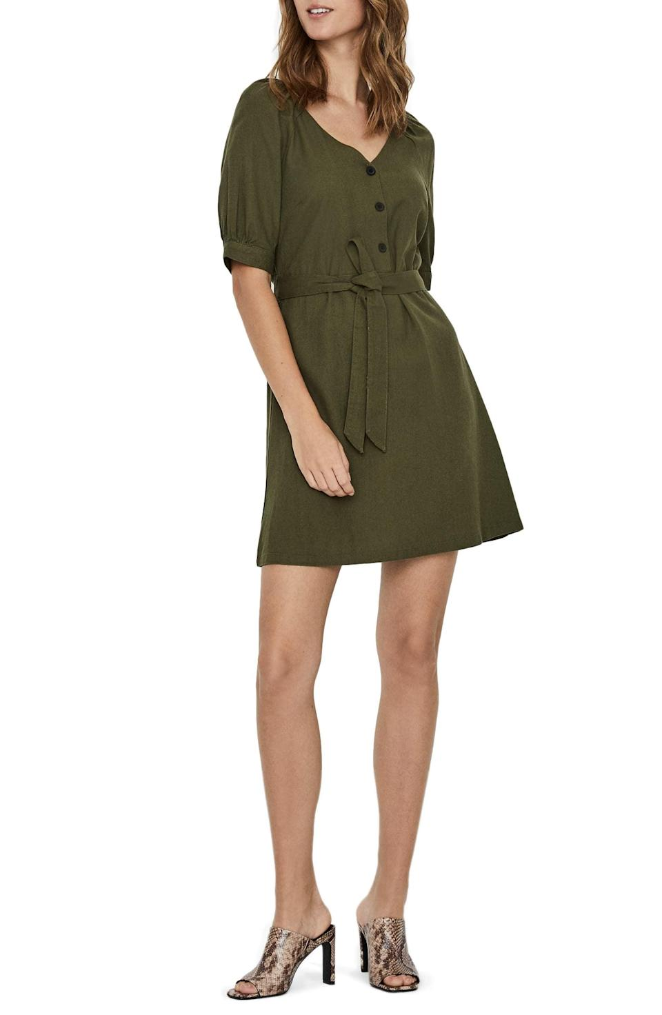 "<p>We love the green color of this <a href=""https://www.popsugar.com/buy/Vero-Moda-Day-Puff-Sleeve-Linen-Blend-Minidress-588372?p_name=Vero%20Moda%20Day%20Puff%20Sleeve%20Linen%20Blend%20Minidress&retailer=nordstrom.com&pid=588372&price=59&evar1=fab%3Aus&evar9=46355415&evar98=https%3A%2F%2Fwww.popsugar.com%2Ffashion%2Fphoto-gallery%2F46355415%2Fimage%2F47609372%2FVero-Moda-Day-Puff-Sleeve-Linen-Blend-Minidress&list1=shopping%2Cdresses%2Csummer%2Cproducts%20under%20%24100%2Csummer%20fashion&prop13=api&pdata=1"" class=""link rapid-noclick-resp"" rel=""nofollow noopener"" target=""_blank"" data-ylk=""slk:Vero Moda Day Puff Sleeve Linen Blend Minidress"">Vero Moda Day Puff Sleeve Linen Blend Minidress</a> ($59).</p>"