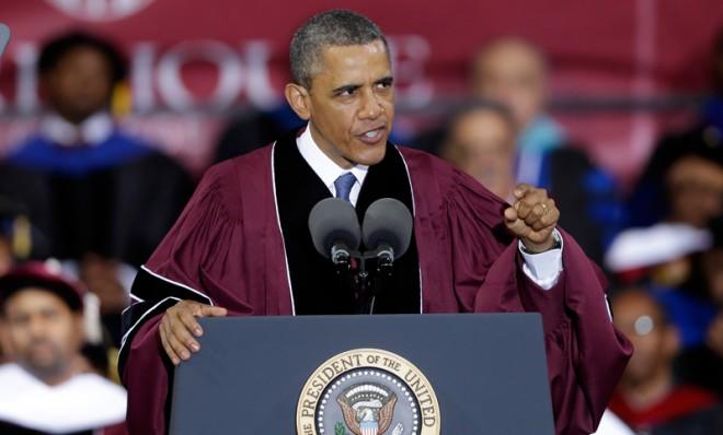 President Barack Obama delivers the commencement speech at Morehouse College in Atlanta, Ga., May 19.