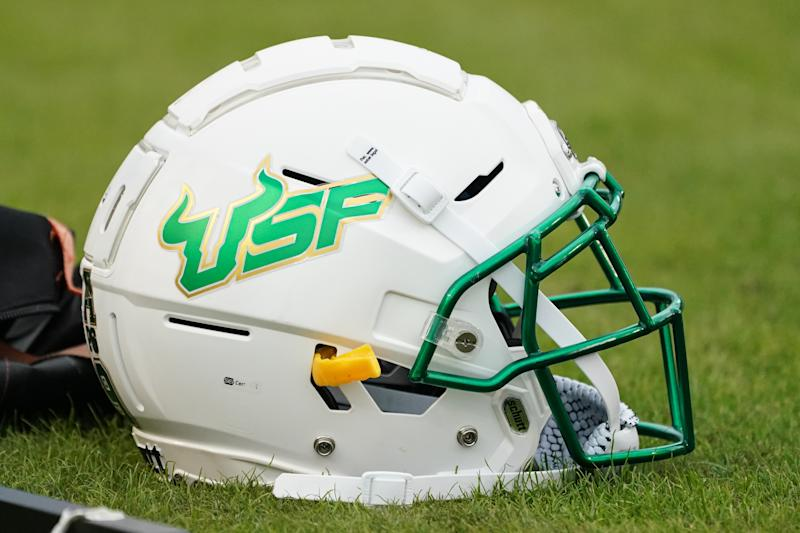 GREENVILLE, NC - OCTOBER 26: South Florida Bulls helmet sits on the sidelines during a game between the USF Bulls and the East Carolina Pirates at Dowdy-Ficklen Stadium in Greenville, NC on October 26, 2019. (Photo by Greg Thompson/Icon Sportswire via Getty Images)