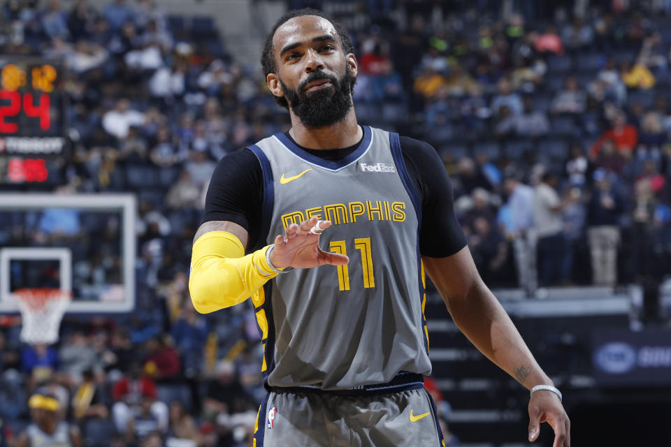 MEMPHIS, TN - MARCH 23: Mike Conley #11 of the Memphis Grizzlies looks on during the game against the Minnesota Timberwolves at FedExForum on March 23, 2019 in Memphis, Tennessee. Minnesota won 112-99. NOTE TO USER: User expressly acknowledges and agrees that, by downloading and or using the photograph, User is consenting to the terms and conditions of the Getty Images License Agreement. (Photo by Joe Robbins/Getty Images)