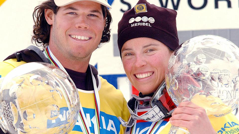 Julie Pomagalski and Jasey Jay Anderson, pictured here after winning the overall snowboarding FlS World Cup in 2004.