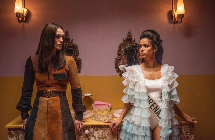 "Keira Knightley stars as a feminist mom and Gugu Mbatha-Raw plays Miss Grenada in the 1970-set dramedy ""Misbehaviour."""