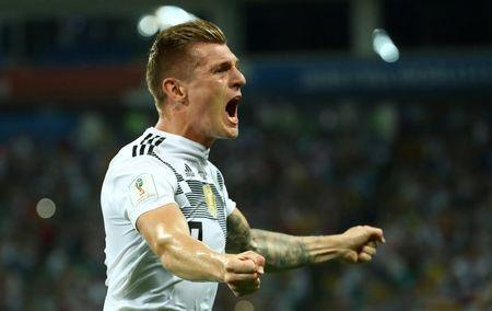 Soccer Football - World Cup - Group F - Germany vs Sweden - Fisht Stadium, Sochi, Russia - June 23, 2018 Germany's Toni Kroos celebrates scoring their second goal REUTERS/Michael Dalder