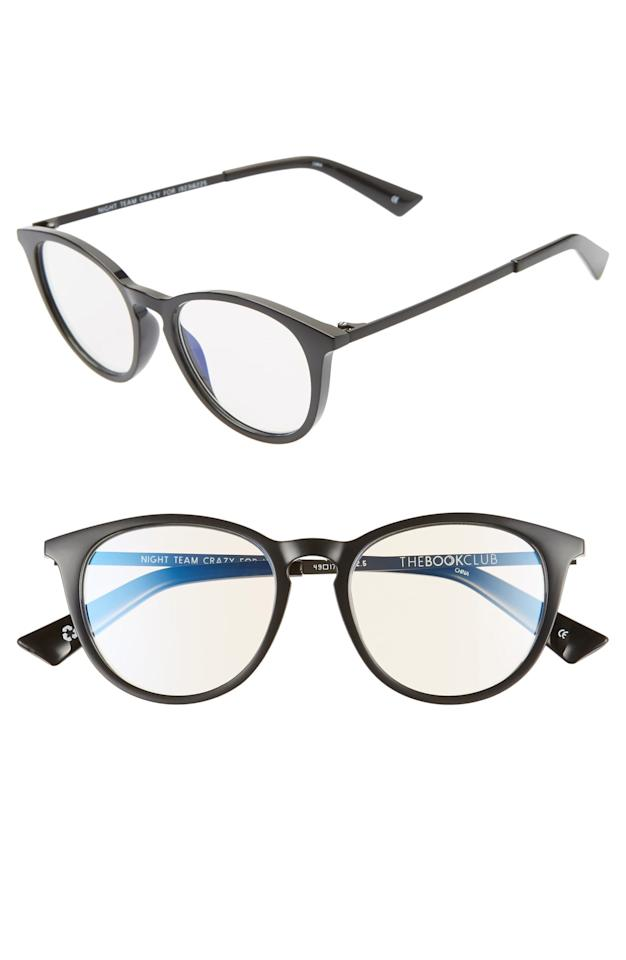 """<p>You can't go wrong with these <a href=""""https://www.popsugar.com/buy/Book-Club-Night-Team-Crazy-Reading-Glasses-547699?p_name=The%20Book%20Club%20Night%20Team%20Crazy%20For%20Reading%20Glasses&retailer=shop.nordstrom.com&pid=547699&price=50&evar1=savvy%3Aus&evar9=45742093&evar98=https%3A%2F%2Fwww.popsugar.com%2Fsmart-living%2Fphoto-gallery%2F45742093%2Fimage%2F47191719%2FBook-Club-Night-Team-Crazy-For-Reading-Glasses&list1=tech%2Cdigital%20life%2Cglasses%2Cscreen%20time%2Chealthy%20living%20tips%2Chealth%20and%20wellness&prop13=mobile&pdata=1"""" rel=""""nofollow"""" data-shoppable-link=""""1"""" target=""""_blank"""" class=""""ga-track"""" data-ga-category=""""Related"""" data-ga-label=""""https://shop.nordstrom.com/s/the-book-club-night-team-crazy-for-49mm-reading-glasses/5554307/full?origin=keywordsearch-personalizedsort&amp;breadcrumb=Home%2FAll%20Results&amp;color=black"""" data-ga-action=""""In-Line Links"""">The Book Club Night Team Crazy For Reading Glasses</a> ($50).</p>"""