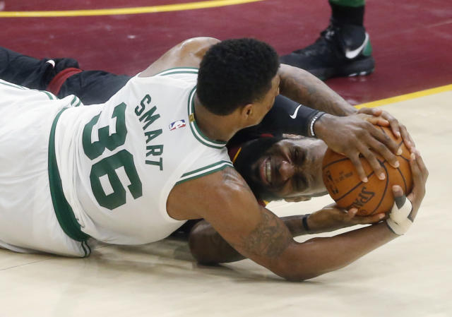 "Few players fought harder in the playoffs than <a class=""link rapid-noclick-resp"" href=""/nba/teams/bos"" data-ylk=""slk:Celtics"">Celtics</a> guard <a class=""link rapid-noclick-resp"" href=""/nba/players/5317/"" data-ylk=""slk:Marcus Smart"">Marcus Smart</a>, but how much is that worth? (AP)"