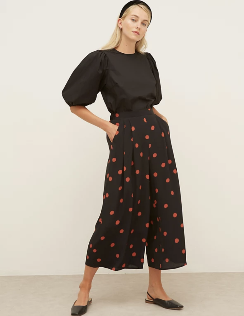 Polka Dot Wide Leg Cropped Trousers  (Nobody's Child/M&S)