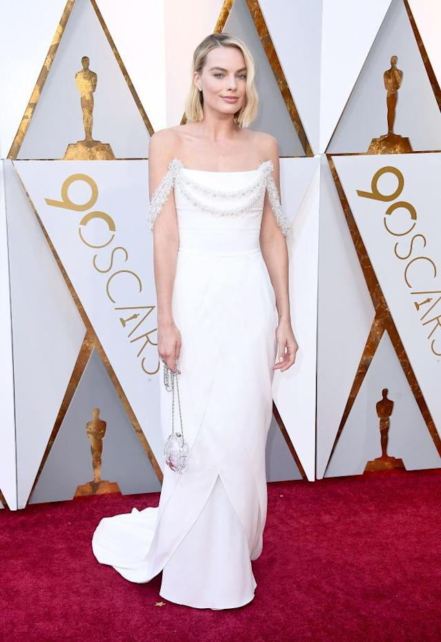 "<p>Margot Robbie, of <i>I, Tonya</i>, stunned in a white Chanel number. Her gown choice makes sense, since Robbie is the brand's <a href=""https://www.vogue.com.au/fashion/news/margot-robbie-announced-as-chanels-newest-ambassador/news-story/cc3d13c37310badf9b2576084d78008f"" rel=""nofollow noopener"" target=""_blank"" data-ylk=""slk:new ambassador"" class=""link rapid-noclick-resp"">new ambassador</a>. Her nomination in the Best Actress category was her first. (Photo: Getty Images) </p>"