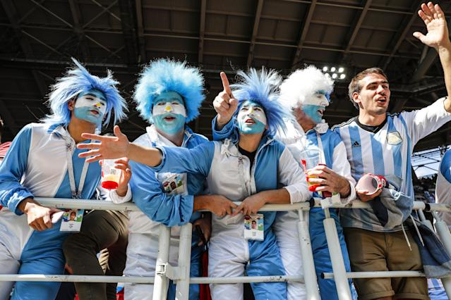 <p>Argentina fans get in the mood as they get ready to face Iceland (getty) </p>