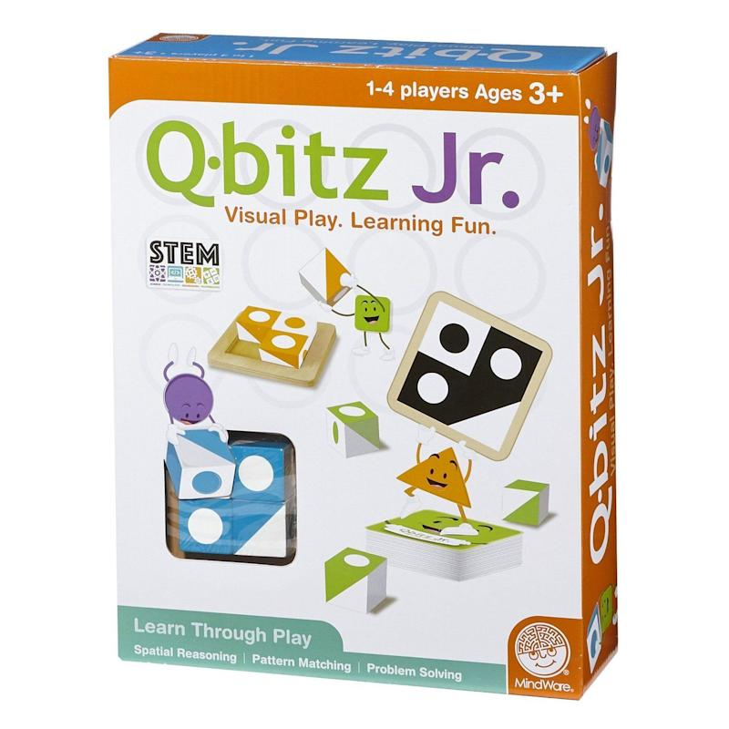 "If you thought basic engineering skills couldn't be learned at a young age, think again. This <a href=""https://www.target.com/p/mindware-174-q-bitz-jr-game/-/A-52120642"" target=""_blank"">STEM game</a> is great for engineering design process."
