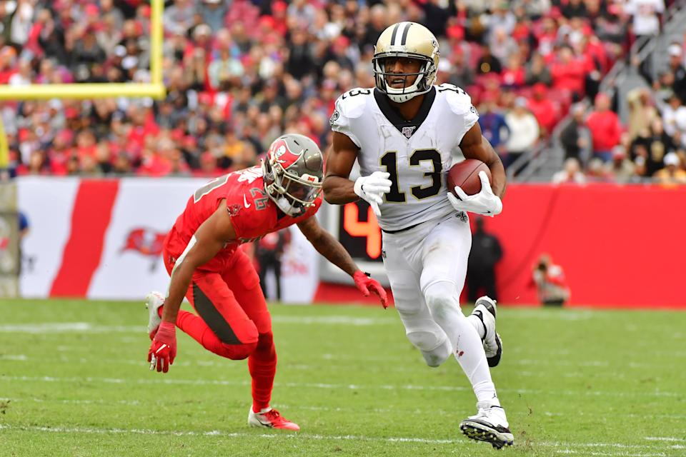 Can't guard Mike: New Orleans receiver Michael Thomas has 94 catches through the first 10 games of this season. (Julio Aguilar/Getty Images)