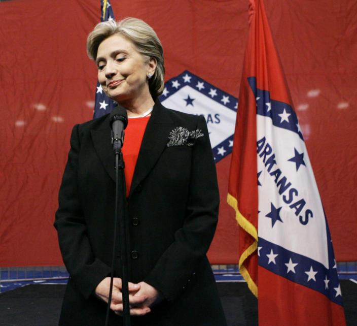 <p>Democratic presidential hopeful Sen. Hillary Clinton speaks about the withdrawal of John Edwards from the Democratic presidential race in January 2008, at a news conference at North Little Rock High School in North Little Rock, Ark. (Photo: Elise Amendola/AP)</p>