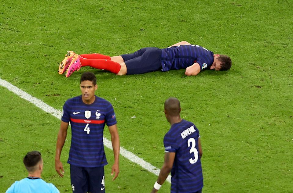 Benjamin Pavard was knocked out against Germany (AP)
