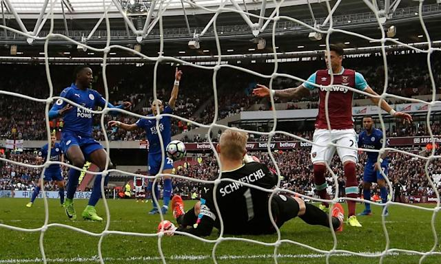 """<span class=""""element-image__caption"""">Kasper Schmeichel makes a late save to deny West Ham a point at the London Stadium.</span> <span class=""""element-image__credit"""">Photograph: Steve Bardens/Getty Images</span>"""
