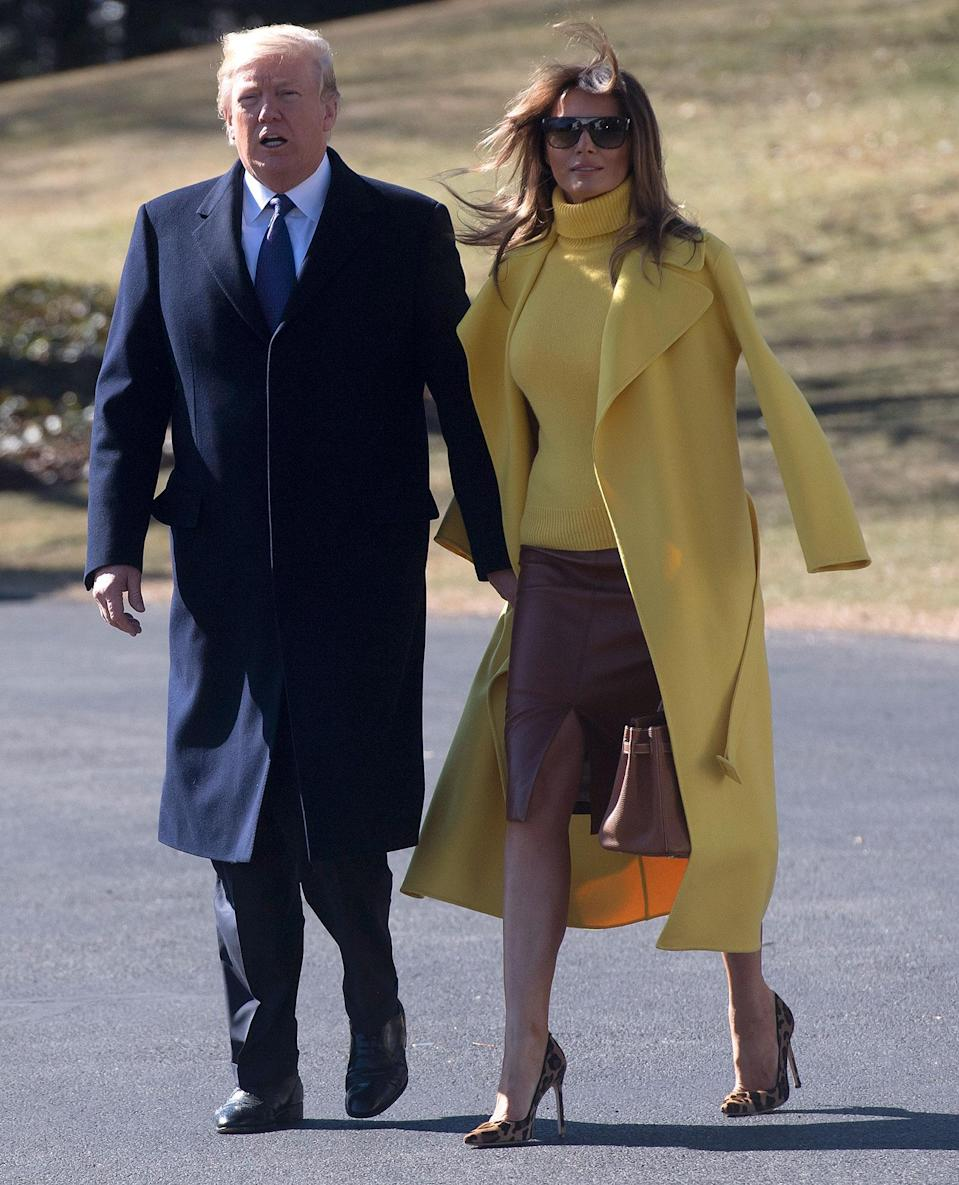 "<p>First Lady Melania Trump appears to <a href=""https://people.com/politics/melania-swat-trump-hand-again-twitter/"" rel=""nofollow noopener"" target=""_blank"" data-ylk=""slk:swat her husband's hand away"" class=""link rapid-noclick-resp"">swat her husband's hand away</a> as they leave Washington, D.C., for a visit to Ohio in 2018. </p> <p>There was also <a href=""https://people.com/politics/melania-trump-swats-away-donald-trump-hand-in-israel/"" rel=""nofollow noopener"" target=""_blank"" data-ylk=""slk:no husband-wife hand-holding"" class=""link rapid-noclick-resp"">no husband-wife hand-holding</a> as the Trumps arrived in Tel Aviv, Israel, on May 22, 2017, the <a href=""https://people.com/politics/melania-and-ivanka-trump-ditch-headscarves-for-saudi-arabia-visit-despite-trump-calling-it-insulting/"" rel=""nofollow noopener"" target=""_blank"" data-ylk=""slk:second stop"" class=""link rapid-noclick-resp"">second stop</a> on their eight-day tour to five countries. As the pair walked away from Air Force One on the Israeli tarmac, the president was seen reaching for his wife's hand. She then appeared to be swatting the president's hand away.<a href=""http://www.haaretz.com/israel-news/1.790848"" rel=""nofollow noopener"" target=""_blank"" data-ylk=""slk:Israeli newspaper Haaretz"" class=""link rapid-noclick-resp""> Israeli newspaper <i>Haaretz</i></a> shared a clip of the moment on Twitter, and it went viral. In the years that followed, the first lady was seen seemingly moving her husband's hand away from hers many more times, including after the final presidential debate in October 2020. </p>"
