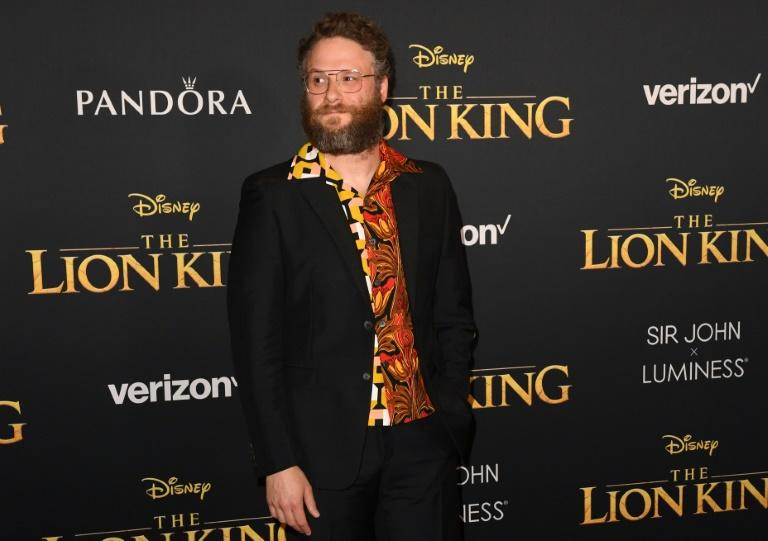 """Seth Rogen, who voices warthog Pumbaa, said it was """"amazing"""" to be asked to ad-lib in """"probably the most technologically incredible movie ever made"""" (AFP Photo/Robyn Beck)"""