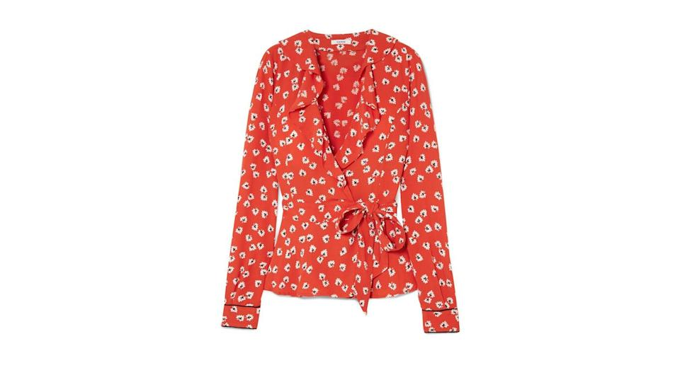 """<p>Pair this floral Ganni tie-front number with jeans and heels for an on point warm summer evening look. <br><a rel=""""nofollow noopener"""" href=""""https://www.net-a-porter.com/gb/en/product/1056928/ganni/ruffled-floral-print-crepe-de-chine-wrap-top"""" target=""""_blank"""" data-ylk=""""slk:Buy here."""" class=""""link rapid-noclick-resp"""">Buy here.</a> </p>"""