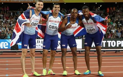 <span> Chijindu Ujah, Adam Gemili, Daniel Talbot and Nethaneel Mitchell-Blake of Great Britain celebrate winning gold in the Men's 4x100 Relay final during day nine of the 16th IAAF World Athletics Championships London 2017 at The London Stadium on August 12, 2017 in London, United Kingdom</span>