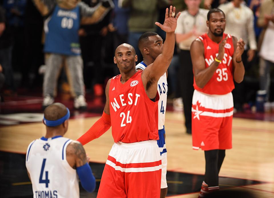TORONTO, ON - FEBRUARY 14:  NBA player Kobe Bryant attend the 2016 NBA All-Star Game at Air Canada Centre on February 14, 2016 in Toronto, Canada.  (Photo by George Pimentel/Getty Images)