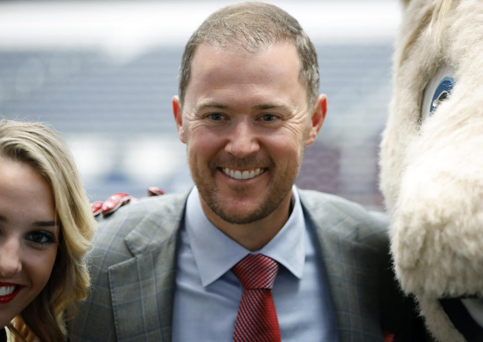 Oklahoma head coach Lincoln Riley poses for a picture on the first day of Big 12 Conference NCAA college football media days Monday, July 15, 2019, at AT&T Stadium in Arlington, Texas. (AP Photo/David Kent)