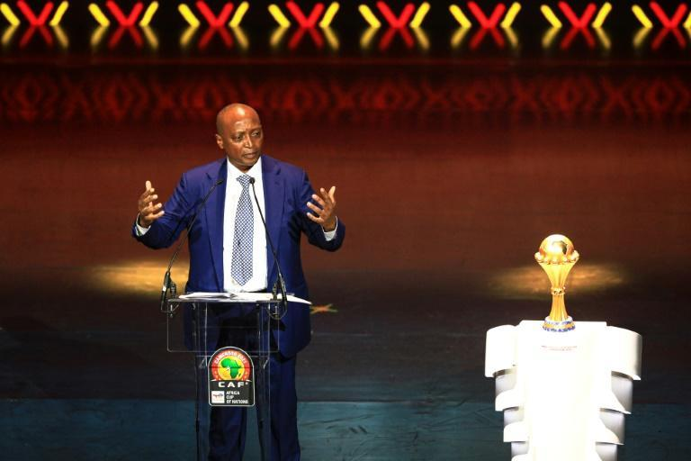 CAF president Patrice Motsepe speaks during the Africa Cup of Nations draw ceremony in Yaounde, Cameroon, on Tuesday
