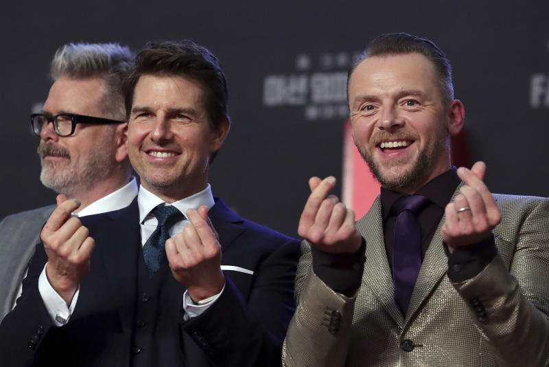 SEOUL, SOUTH KOREA - JULY 16: (R-L) Simon Pegg, Tom Cruise and Christopher McQuarrie attend the 'Mission: Impossible - Fallout' Seoul Premiere at Lotte World Mall on July 16, 2018 in Seoul, South Korea . (Photo by Han Myung-Gu/Getty Images for Paramount Pictures)