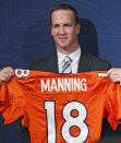 New Denver Broncos quarterback Peyton Manning holds a Broncos jersey with his name and number at the conclusion of an NFL football news conference at the Broncos headquarters in Englewood, Colo., on Tuesday, March 20, 2012. (AP Photo/Ed Andrieski)